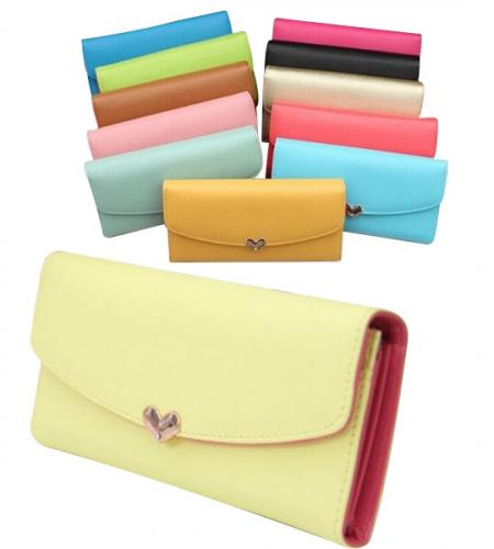 Двухцветный женский кошелек-клатч Pashion для телефона на кнопке-сердечке и со съемной визитницей
