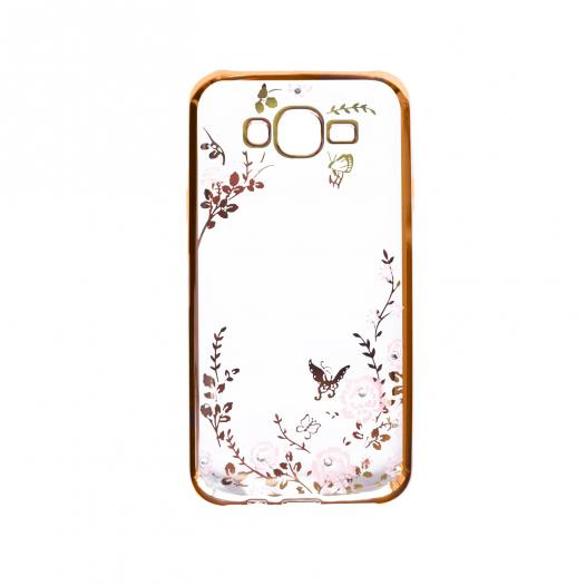 Прозрачный чехол с цветами и стразами для Samsung J500H Galaxy J5 с глянцевым бампером