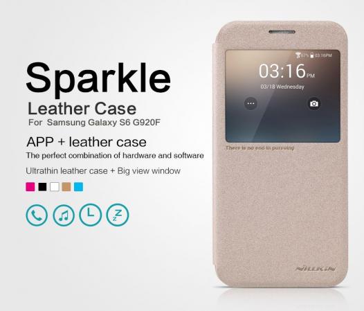 Кожаный чехол (книжка) Nillkin Sparkle Series для Samsung Galaxy S6 G920F/G920D Duos