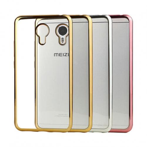 Прозрачный силиконовый чехол для Meizu M3 Note с глянцевой окантовкой