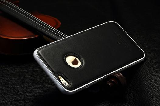 Накладка из натуральной кожи с металлическим бампером Luphie для Apple iPhone 6/6s (4.7