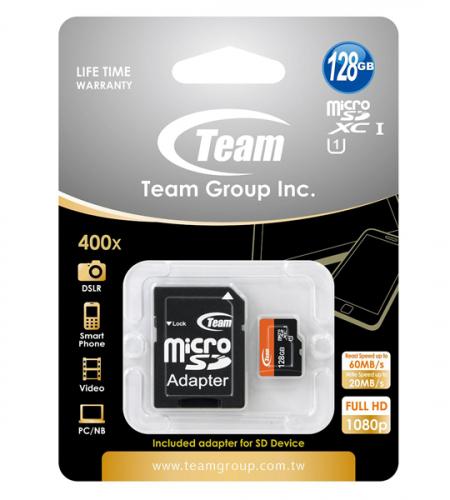 Карта памяти Team microSDXC UHS-1 128 GB Class 10 + SD adapter