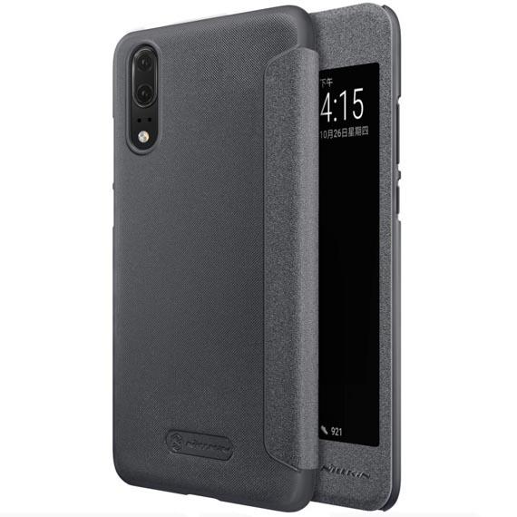 Кожаный чехол (книжка) Nillkin Sparkle Series для Huawei P20