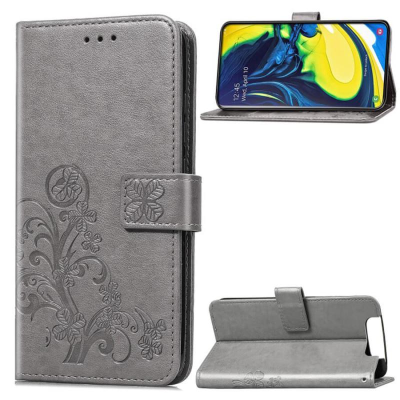 Кожаный чехол (книжка) Four-leaf Clover с визитницей для Samsung Galaxy A80 / A90
