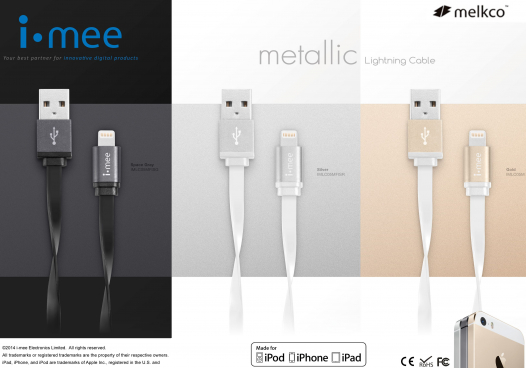 Кабель Melkco i-mee metallic lightning для Apple iPhone 6/6 plus/5/5S/5C/SE