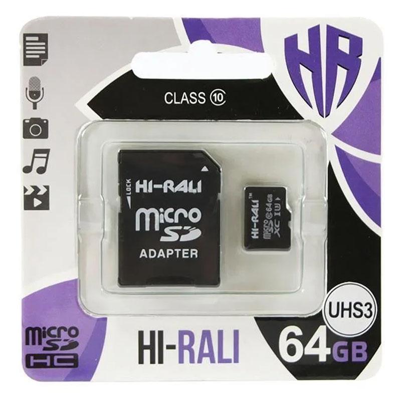 Карта памяти Hi-Rali microSDXC (UHS-3) 64 GB Card Class 10 с адаптером