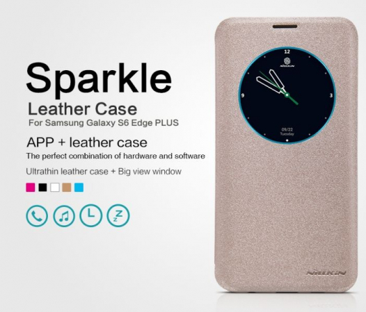 Кожаный чехол (книжка) Nillkin Sparkle Series для Samsung Galaxy S6 Edge Plus