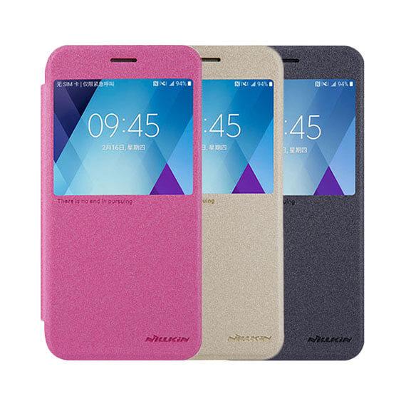 Кожаный чехол (книжка) Nillkin Sparkle Series для Samsung A720 Galaxy A7 (2017)