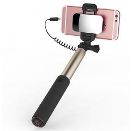 Телескопический монопод ROCK для селфи (кабель Lightning) + зеркало (6/6 Plus/6s/6s Plus /7/7 Plus)