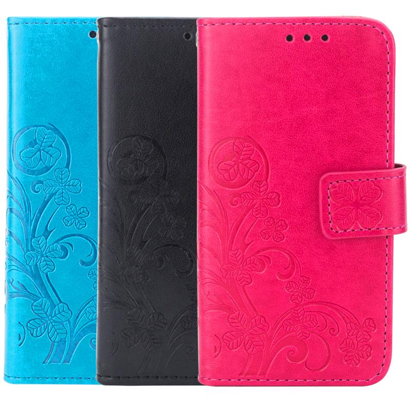 Кожаный чехол (книжка) Four-leaf Clover с визитницей для Xiaomi Redmi 4a