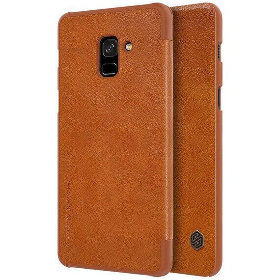 Кожаный чехол (книжка) Nillkin Qin Series для Samsung A730 Galaxy A8+ (2018)