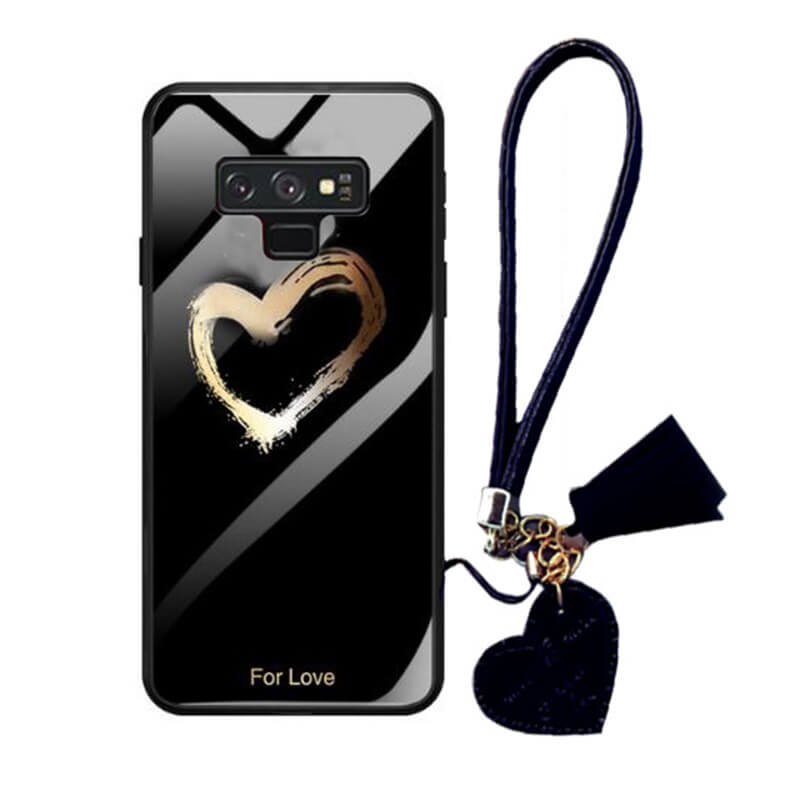 TPU+Glass чехол Hearts с ремешком для Samsung Galaxy Note 9