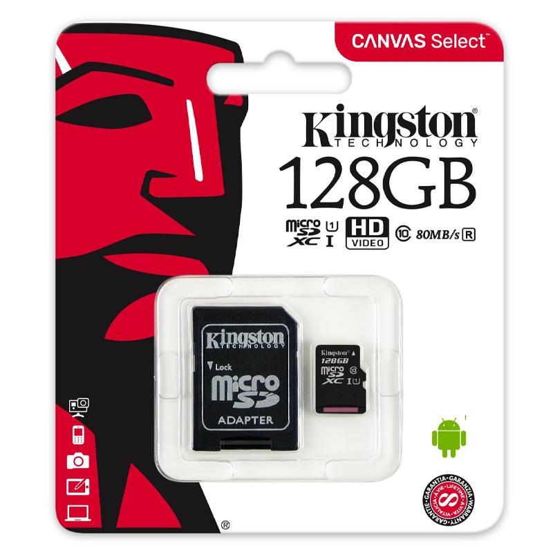 Карта памяти Kingston microSDXC (UHS-1) 128GB Class 10 (с адаптером)