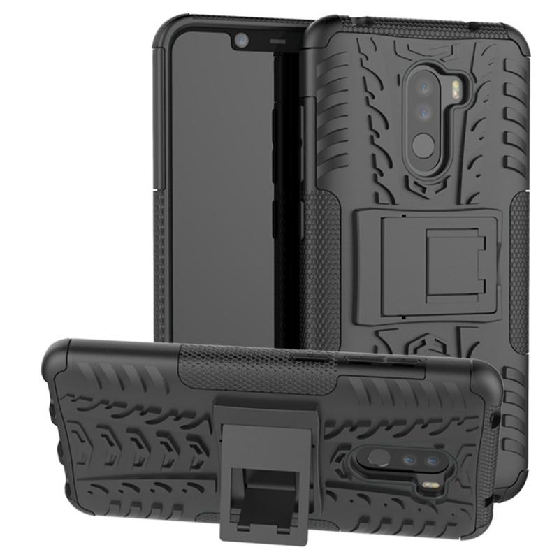 Противоударный двухслойный чехол Shield для Xiaomi Pocophone F1 с подставкой
