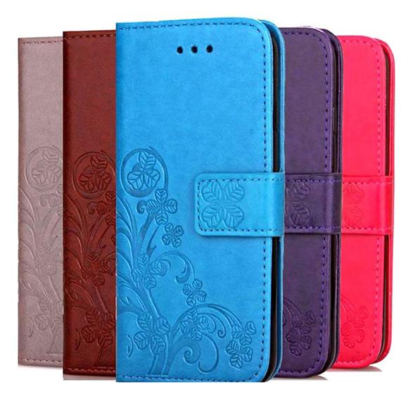 Кожаный чехол (книжка) Four-leaf Clover с визитницей для LG Q9 One