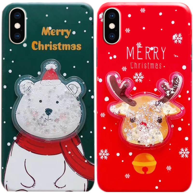 "TPU чехол Merry Christmas с жидкостью для Apple iPhone XS (5.8"")"