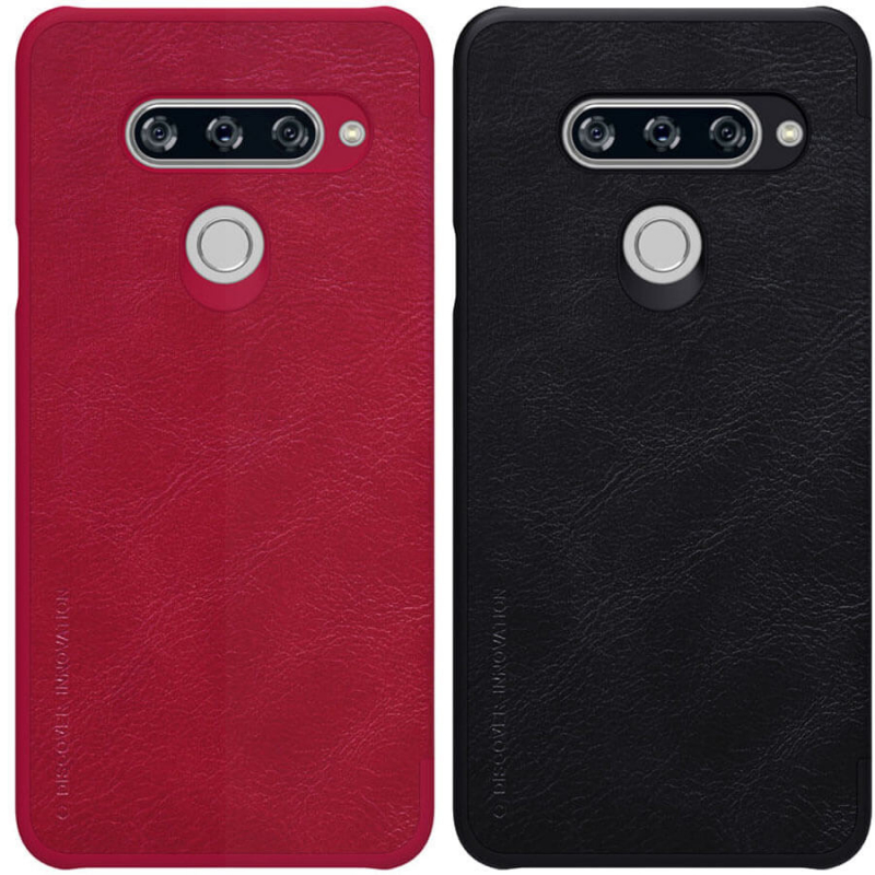 Кожаный чехол (книжка) Nillkin Qin Series для LG V40 ThinQ