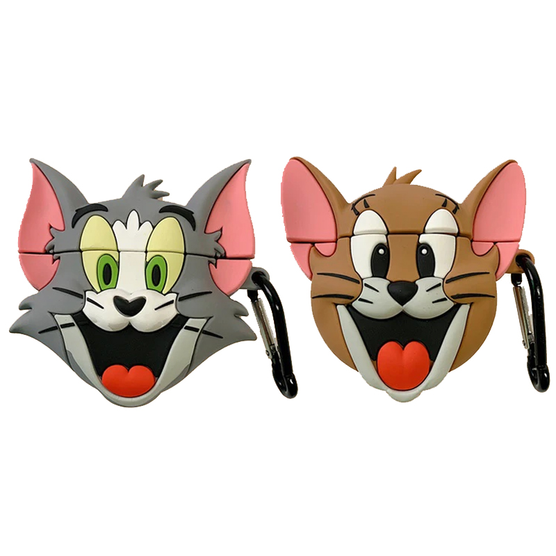 Силиконовый футляр Tom & Jerry series для наушников AirPods + карабин