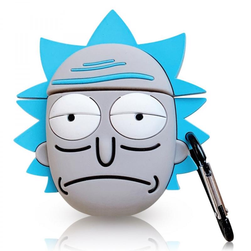 Силиконовый футляр Rick and Morty series для наушников AirPods + карабин