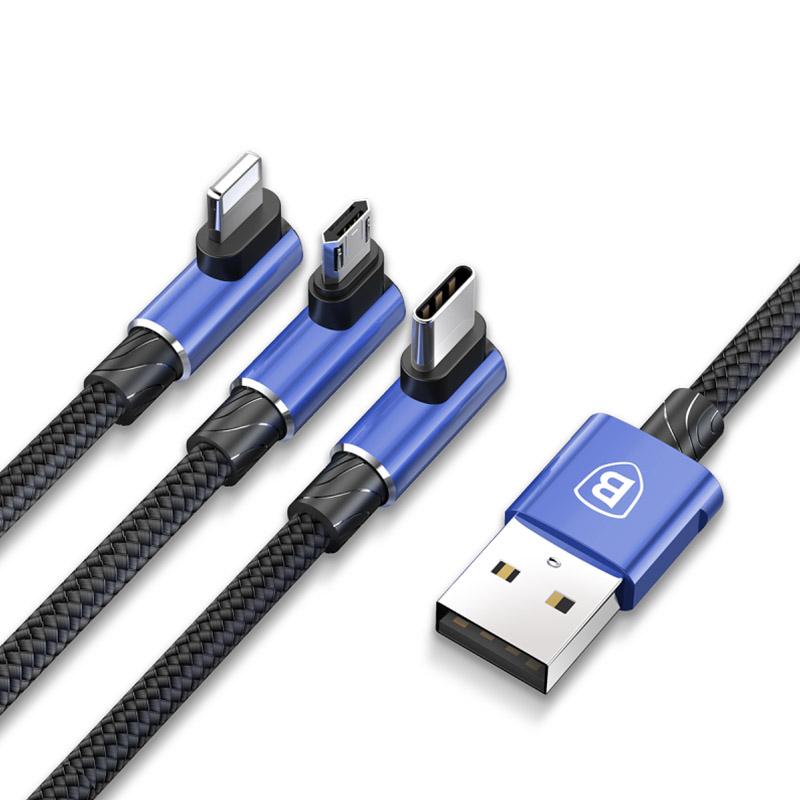 Дата кабель Baseus MVP 3in1 Mobile Game USB to Lightning -MicroUSB-Type-C (1.2m)