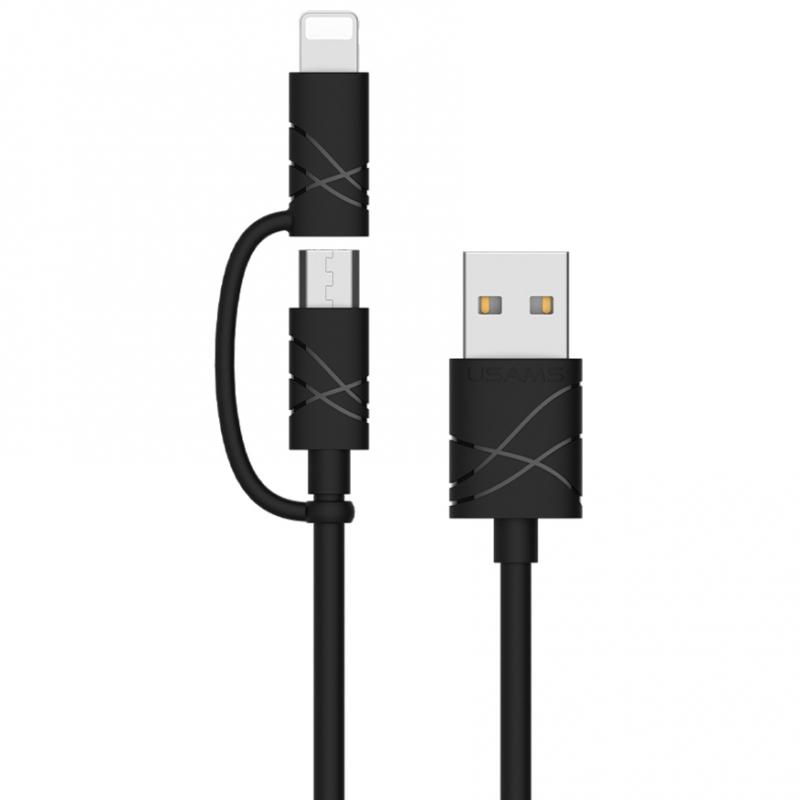 Дата кабель Usams US-SJ077 2in1 U-Gee USB to Micro USB + Lightning (1m)