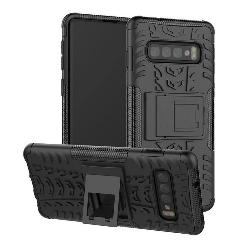 Противоударный двухслойный чехол Shield для Samsung Galaxy S10+ с подставкой