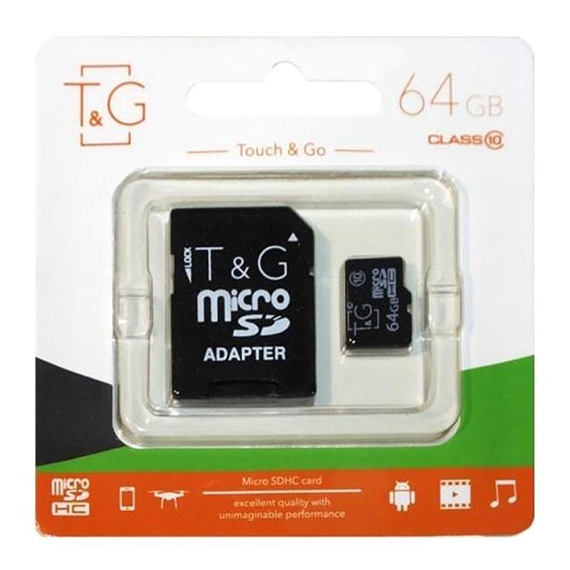 Карта памяти T&G microSDHC 64 GB class 10 (с адаптером)