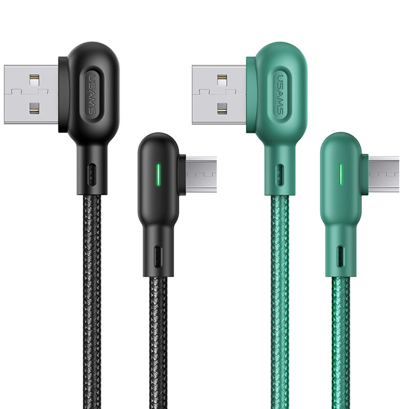 Дата кабель USAMS US-SJ458 U57 Micro Dual Right-angle Cable With Colorful Light (1.2m)
