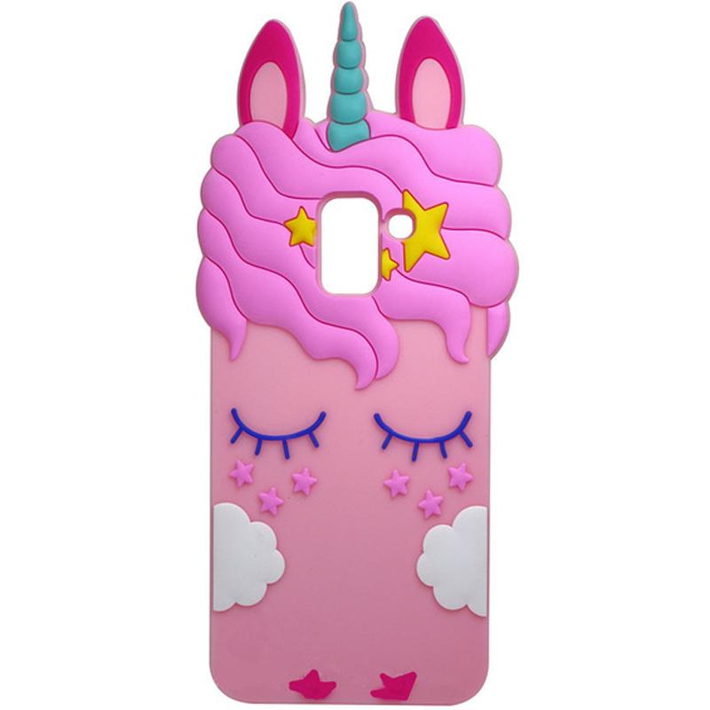 Силиконовая накладка 3D Little Unicorn для Samsung A530 Galaxy A8 (2018)
