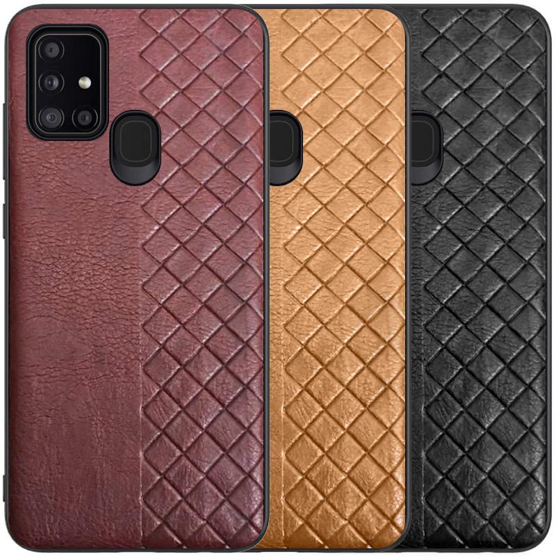 Кожаная накладка WeaveSide (PU) для Samsung Galaxy A21s