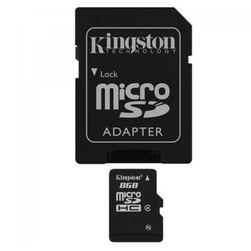Карта памяти Kingston microSDHC 8 GB Class 4 + SD adapter