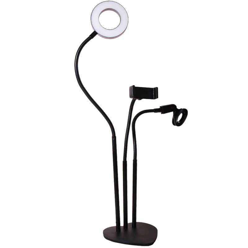 Кольцевая LED лампа с 2 держателями + зажим для микрофона, 9 см