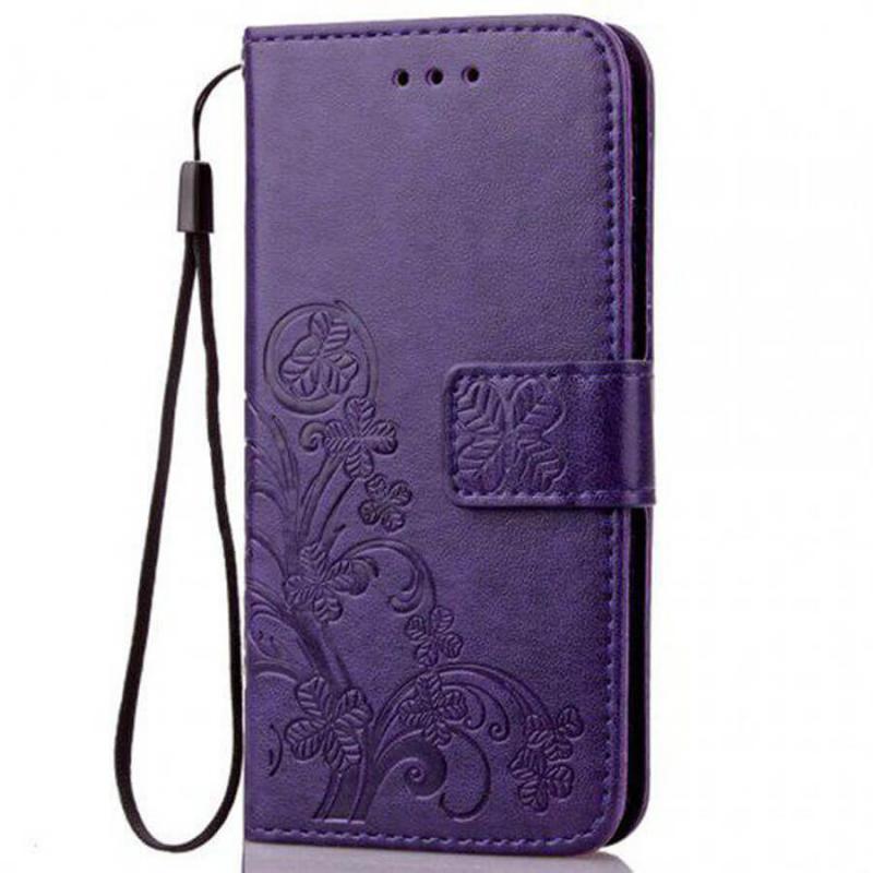 Кожаный чехол (книжка) Four-leaf Clover с визитницей для Huawei Honor 8S