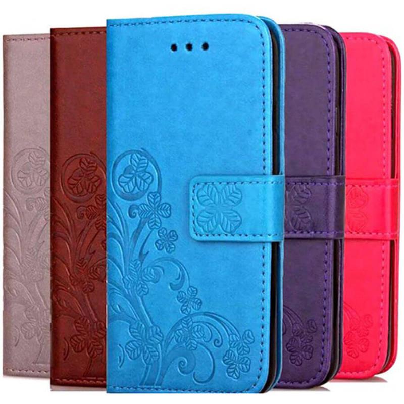 Кожаный чехол (книжка) Four-leaf Clover с визитницей для Huawei Nova 5