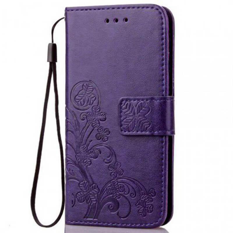 Кожаный чехол (книжка) Four-leaf Clover с визитницей для Samsung Galaxy A50 (A505F) / A50s / A30s