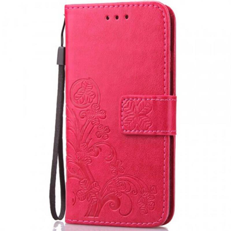 Кожаный чехол (книжка) Four-leaf Clover с визитницей для Vivo Y93 Lite