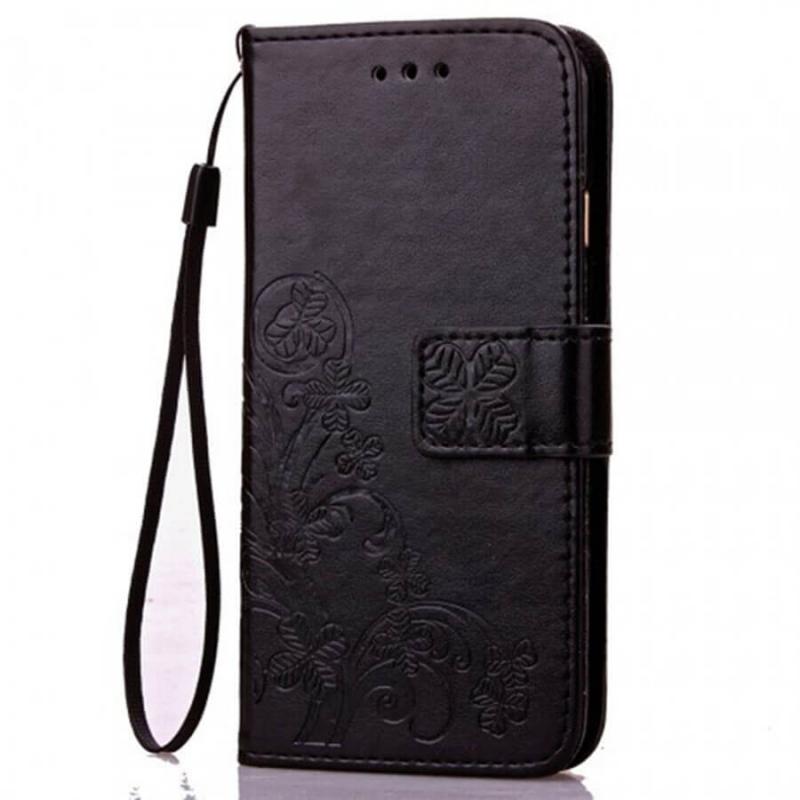 Кожаный чехол (книжка) Four-leaf Clover с визитницей для Vivo Z1 Lite
