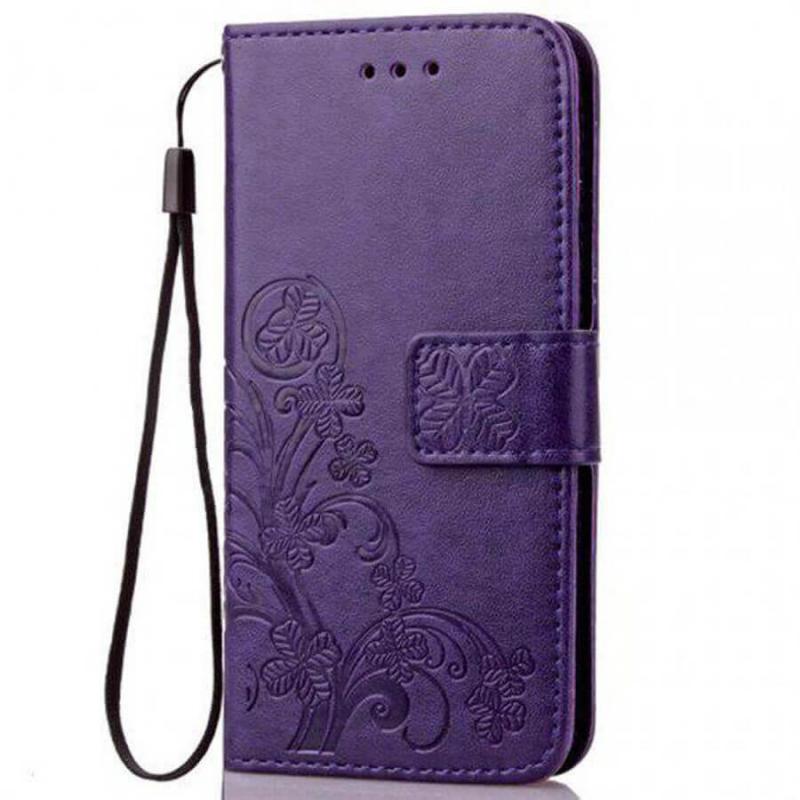 Кожаный чехол (книжка) Four-leaf Clover с визитницей для Xiaomi Mi 10