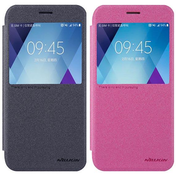 Кожаный чехол (книжка) Nillkin Sparkle Series для Samsung A520 Galaxy A5 (2017)