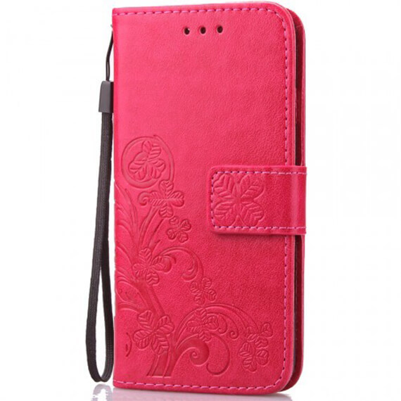 Кожаный чехол (книжка) Four-leaf Clover с визитницей для Samsung J500H Galaxy J5