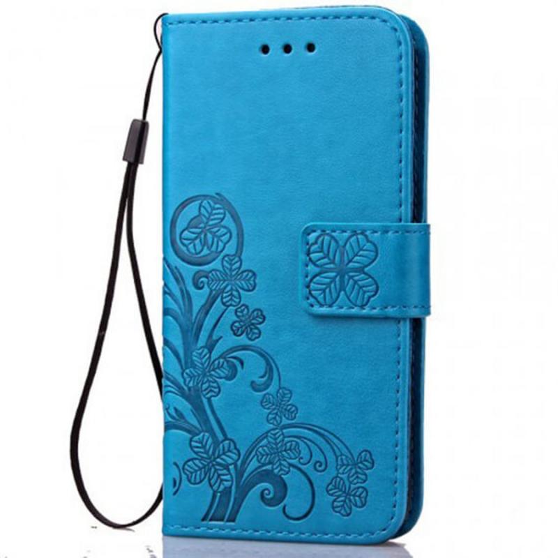 Кожаный чехол (книжка) Four-leaf Clover с визитницей для Vivo Y15 / Y17