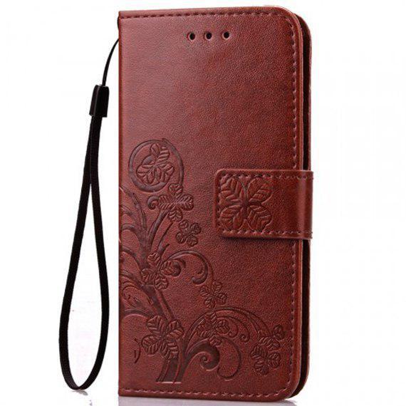 Кожаный чехол (книжка) Four-leaf Clover с визитницей для Meizu M5s