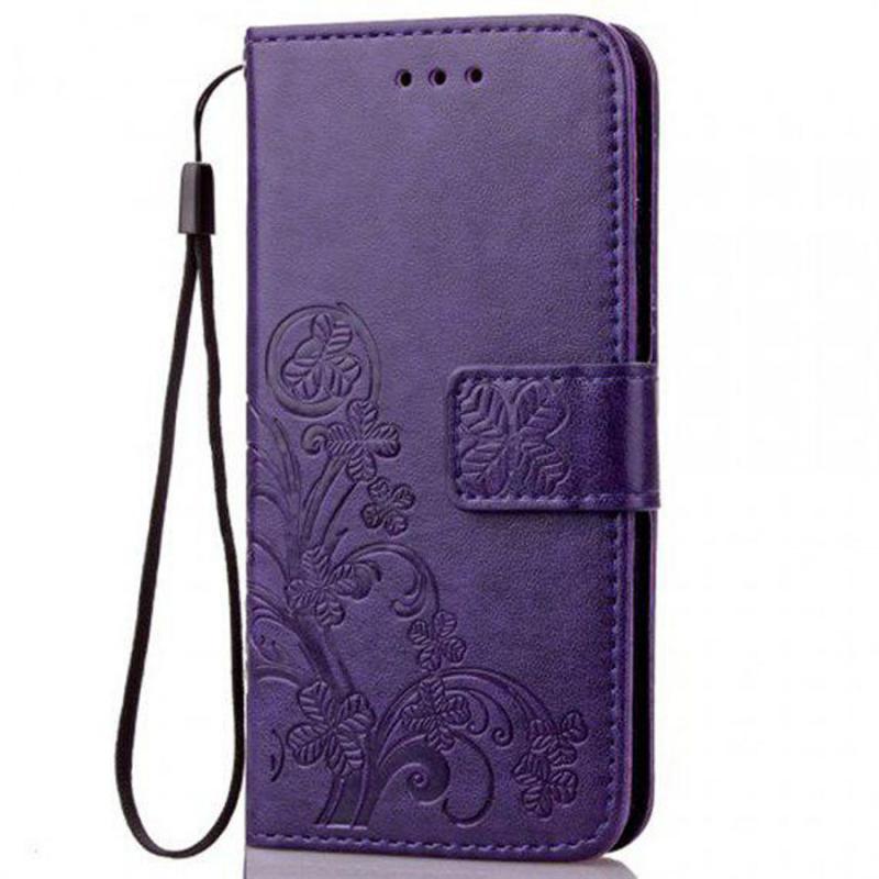 Кожаный чехол (книжка) Four-leaf Clover с визитницей для Nokia 6.2