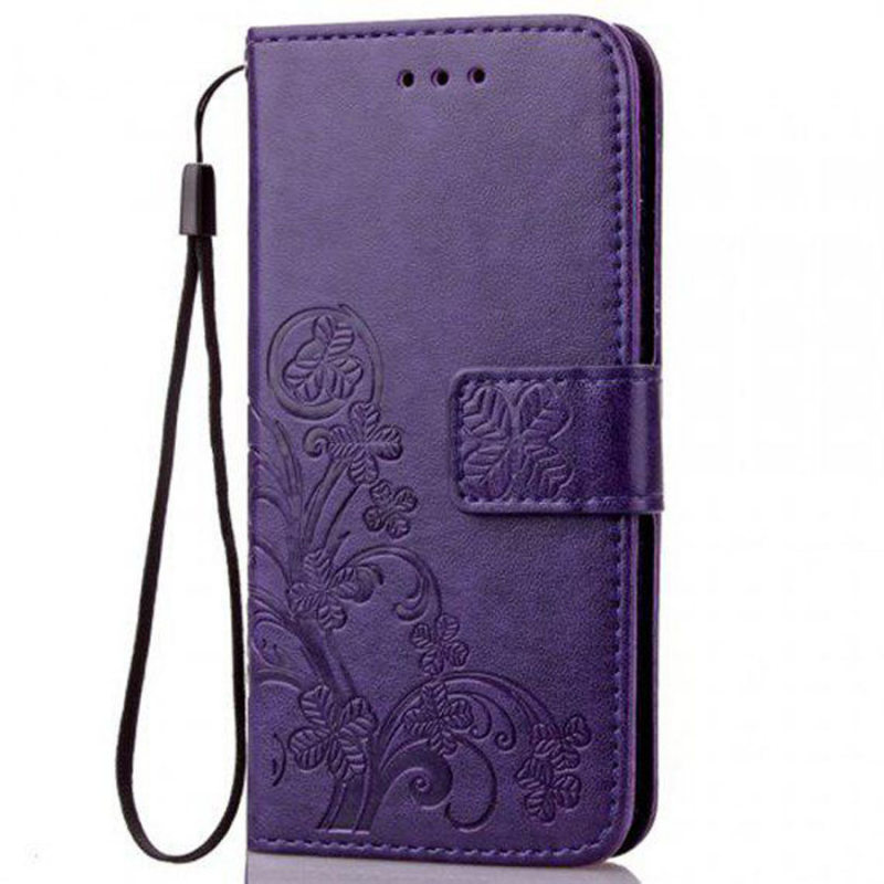 Кожаный чехол (книжка) Four-leaf Clover с визитницей для Xiaomi Mi Note 10
