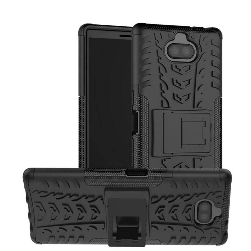 Противоударный двухслойный чехол Shield для Sony Xperia 10 Plus с подставкой
