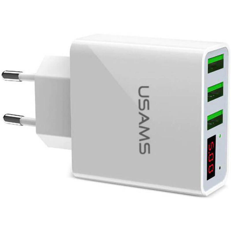 СЗУ USAMS US-CC035 с дисплеем (3USB 2.4A)