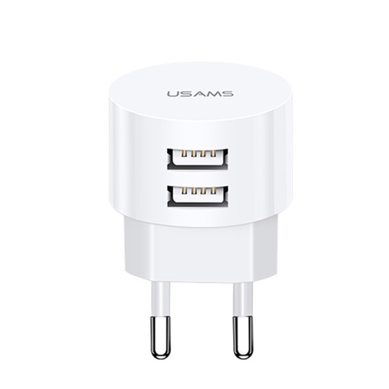 СЗУ USAMS US-CC080 T20 Dual USB Round Travel Charger (EU)