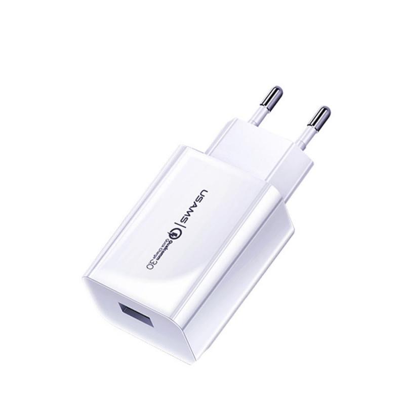 СЗУ USAMS US-CC083 T22 Single USB QC3.0 Travel Charger (EU)