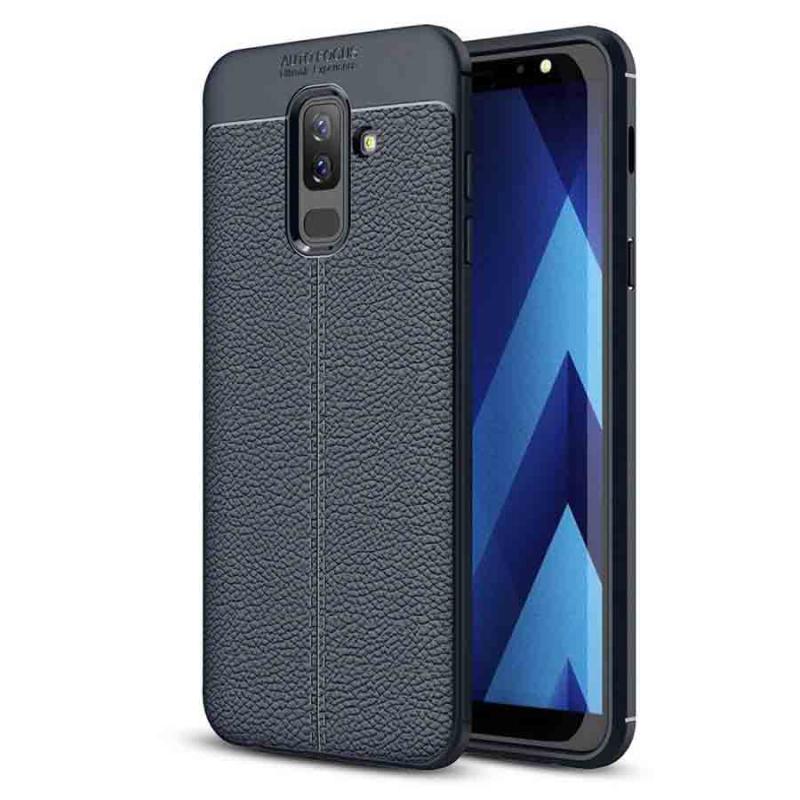 TPU чехол фактурный (с имитацией кожи) для Samsung Galaxy J8 (2018)