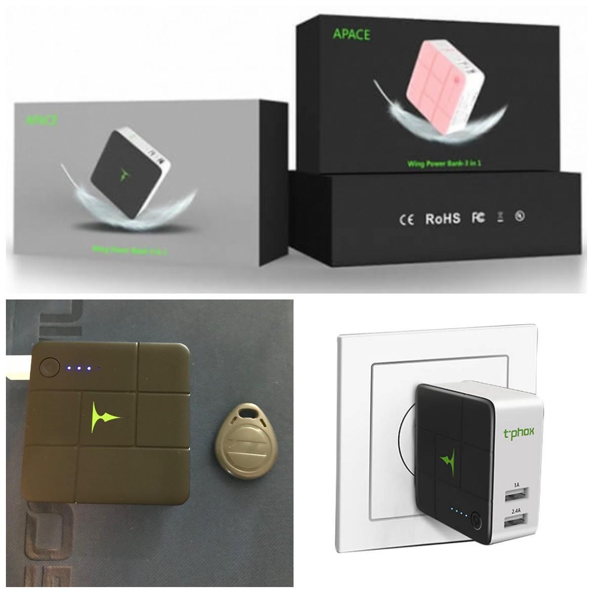 Мережеве і портативний зарядний пристрій T-phox (2в1 сам себе заряджає) (5000mAh 2USB 2.4A) (EU)